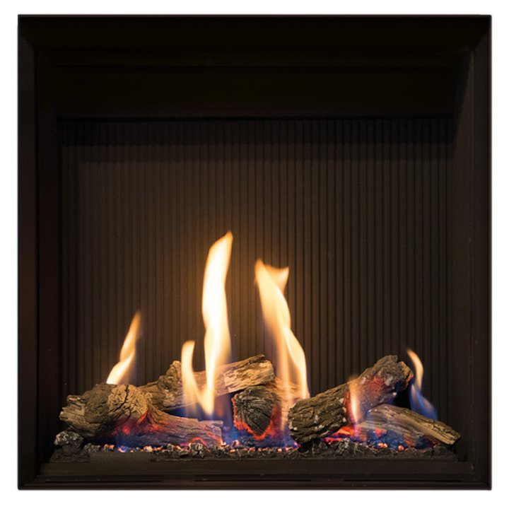 Gazco Riva2 500HL Slimline Balanced Flue Gas Fire Black Black Reeded Vermiculite Lining - Black