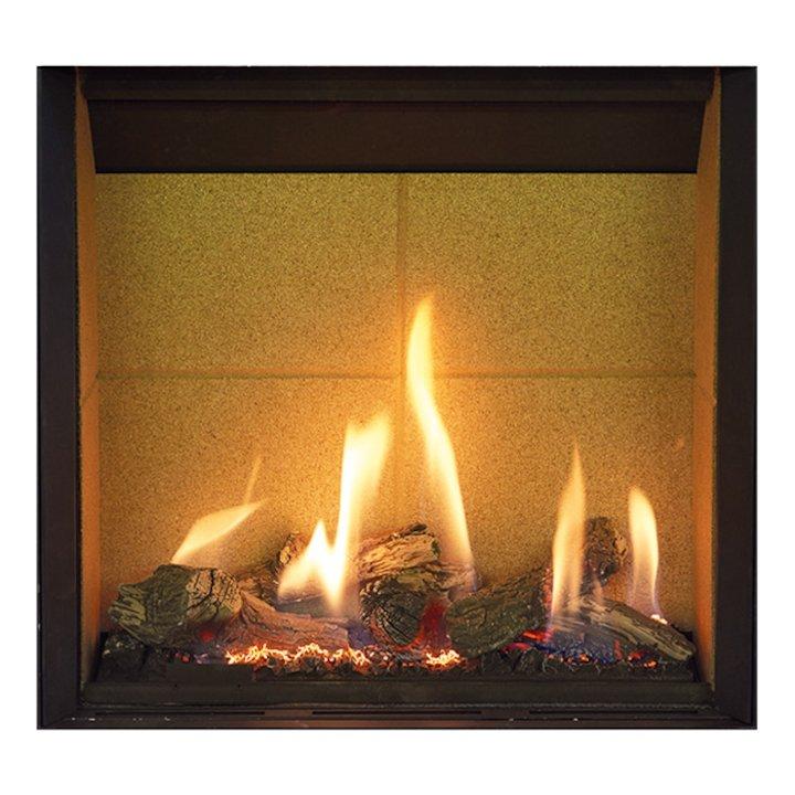 Gazco Riva2 500HL Slimline Balanced Flue Gas Fire Black Beige Vermiculite Lining - Black