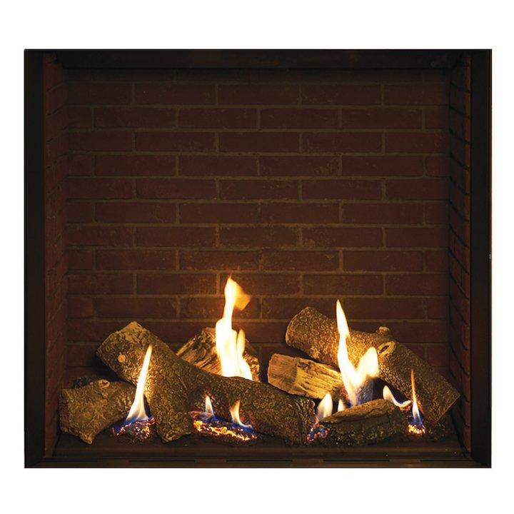 Gazco Riva2 750HL Balanced Flue Gas Fire Black Brick Effect Lining - Black