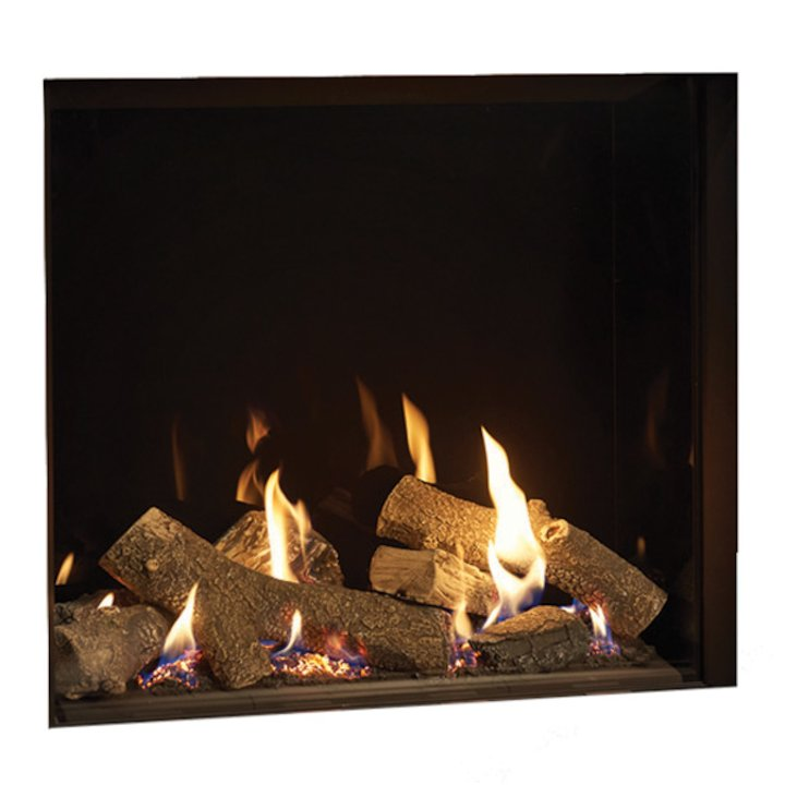 Gazco Riva2 750HL Balanced Flue Gas Fire Black Black Glass Lining - Black
