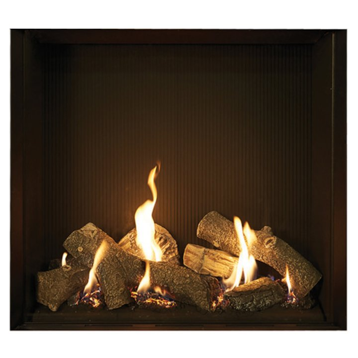 Gazco Riva2 750HL Balanced Flue Gas Fire Black Black Reeded Vermiculite Lining - Black