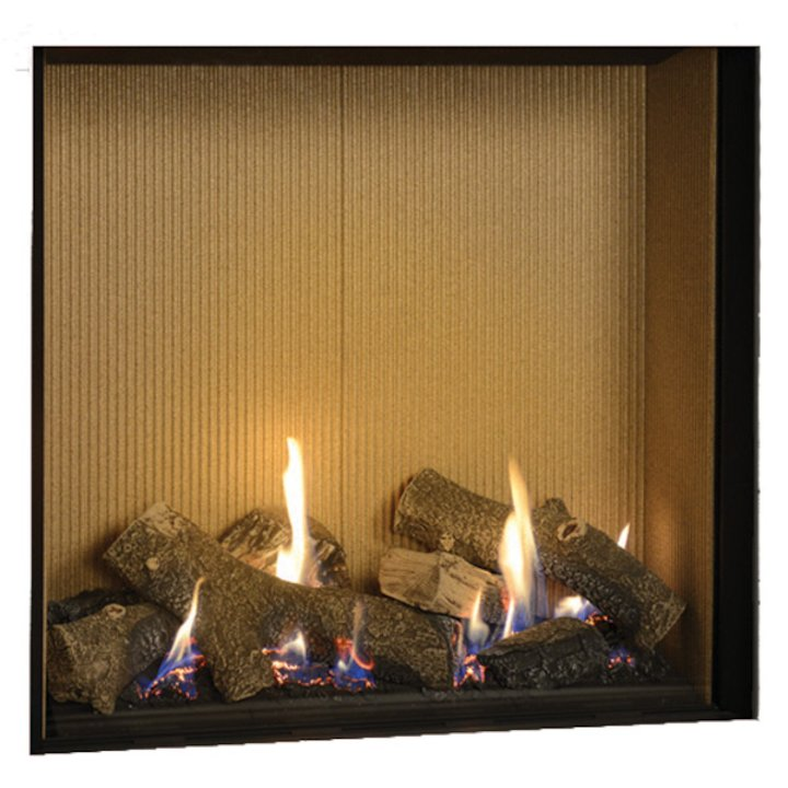 Gazco Riva2 750HL Balanced Flue Gas Fire Black Fluted Vermiculite Lining - Black