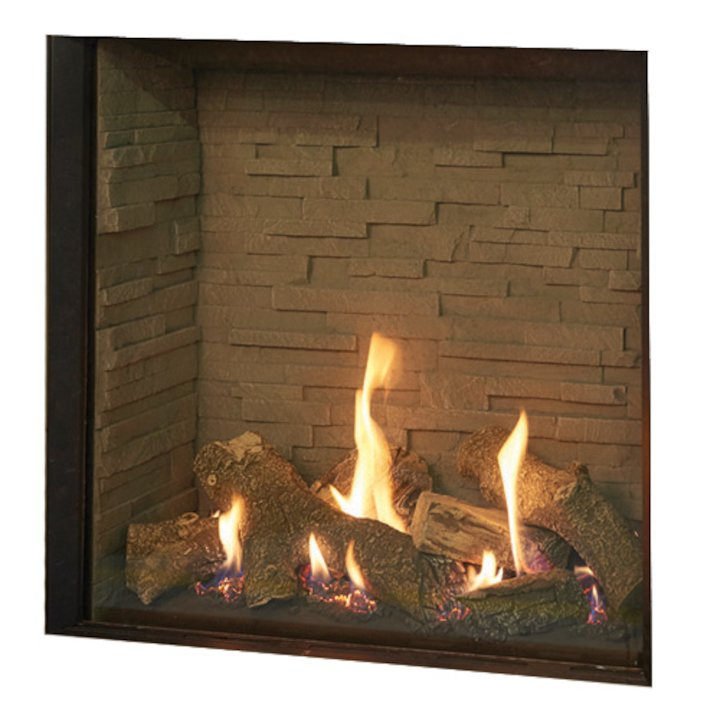 Gazco Riva2 750HL Balanced Flue Gas Fire Black Ledgestone Lining - Black