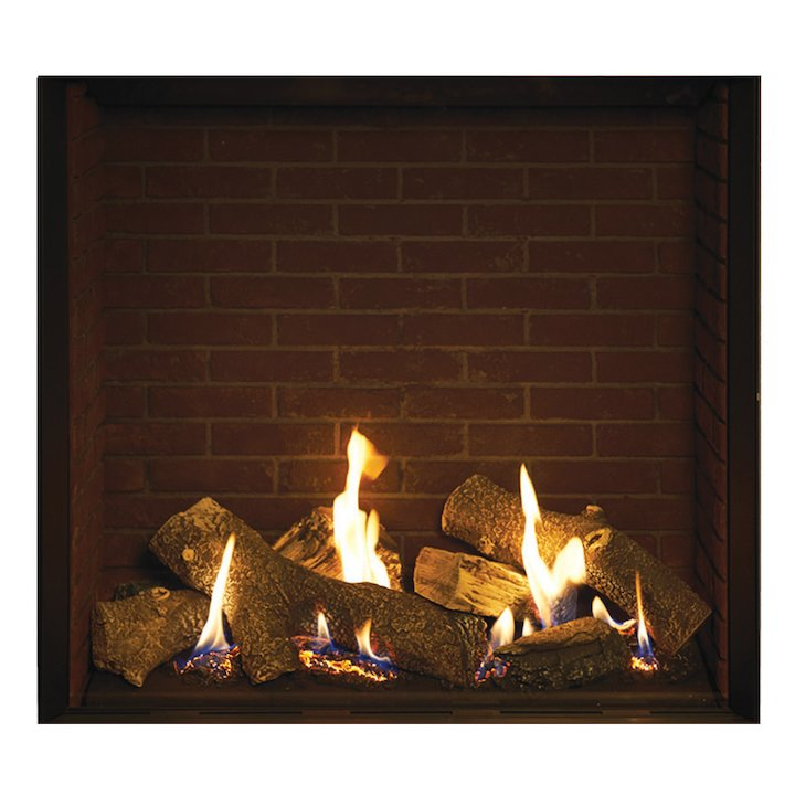 Gazco Riva2 750HL Conventional Flue Gas Fire Black Brick Effect Lining - Black