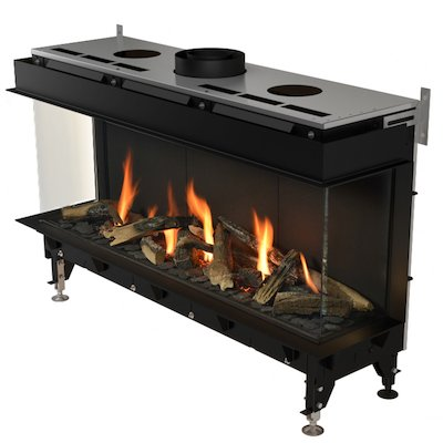 Planika Valentino 1300 Balanced Flue Built-In Gas Fire - Three Sided