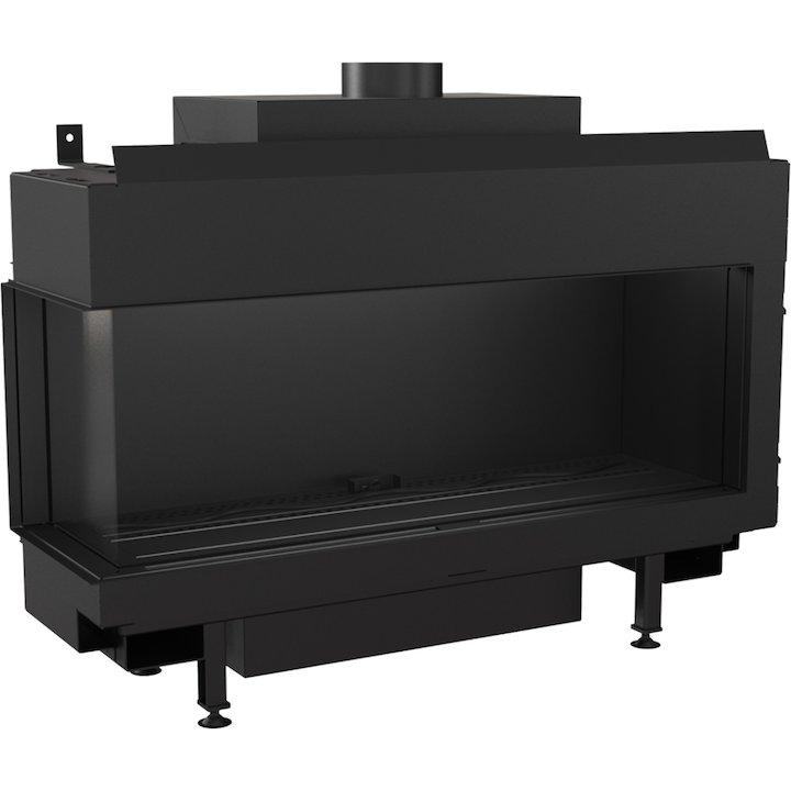 Kratki Leo 100 Conventional Flue Built-In Gas Fire - Corner Black LPG - Black
