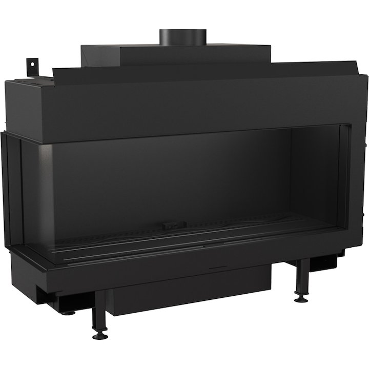 Kratki Leo 100 Conventional Flue Built-In Gas Fire - Corner Black Natural Gas - Black