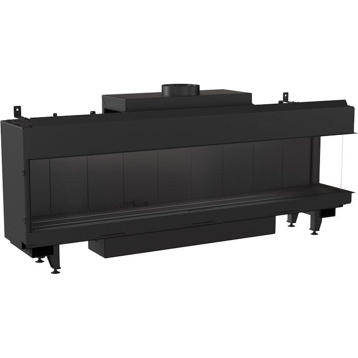Kratki Leo 200 Conventional Flue Built-In Gas Fire - Corner Black LPG - Black