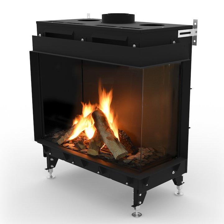 Planika Monroe 900 Balanced Flue Built-In Gas Fire - Corner Black LPG - Black