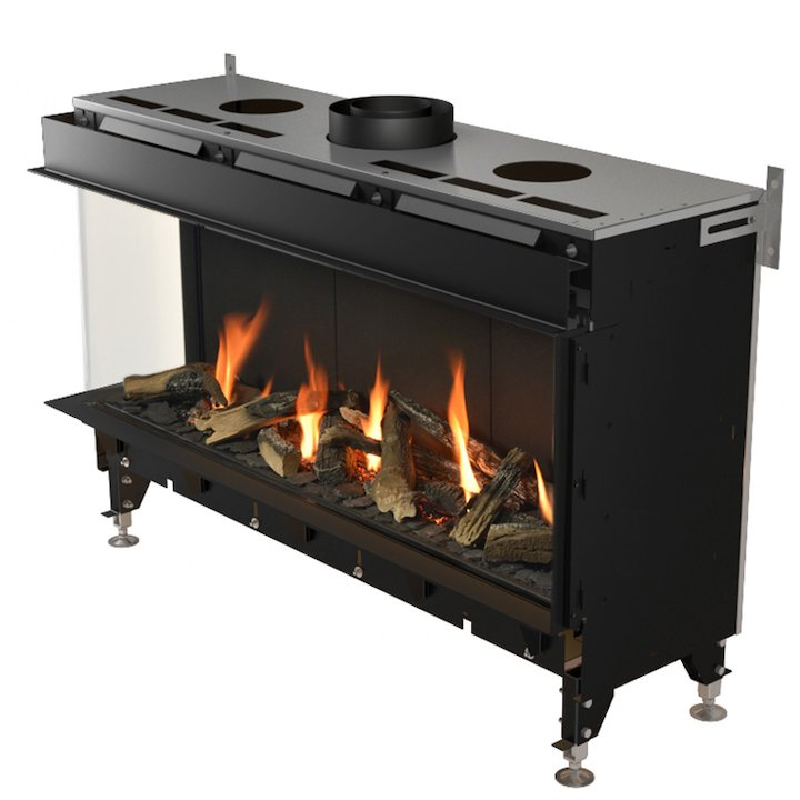 Planika Valentino 1000 Balanced Flue Built-In Gas Fire - Corner Black Natural Gas - Black