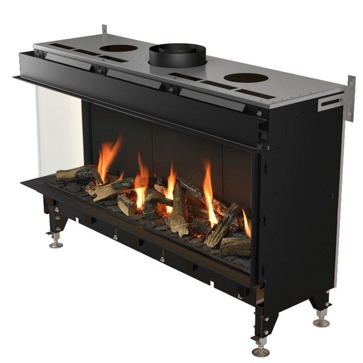 Planika Valentino 1300 Balanced Flue Built-In Gas Fire - Corner Black LPG - Black