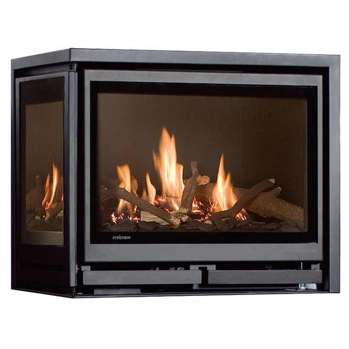 Wanders Square 60G Corner Balanced Flue Gas Fire - Corner Anthracite Left Side Glass - Anthracite