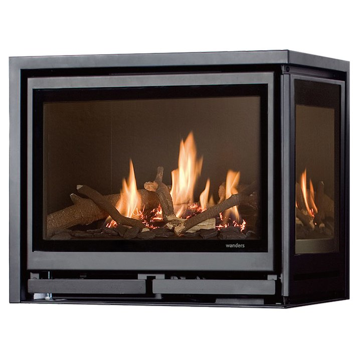 Wanders Square 60G Corner Balanced Flue Gas Fire - Corner Anthracite Right Side Glass - Anthracite