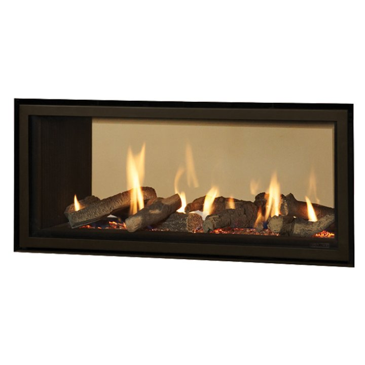 Gazco Studio 2 Duplex Balanced Flue Double Sided Gas Fire - Tunnel Black Black Reeded Vermiculite Lining - Black