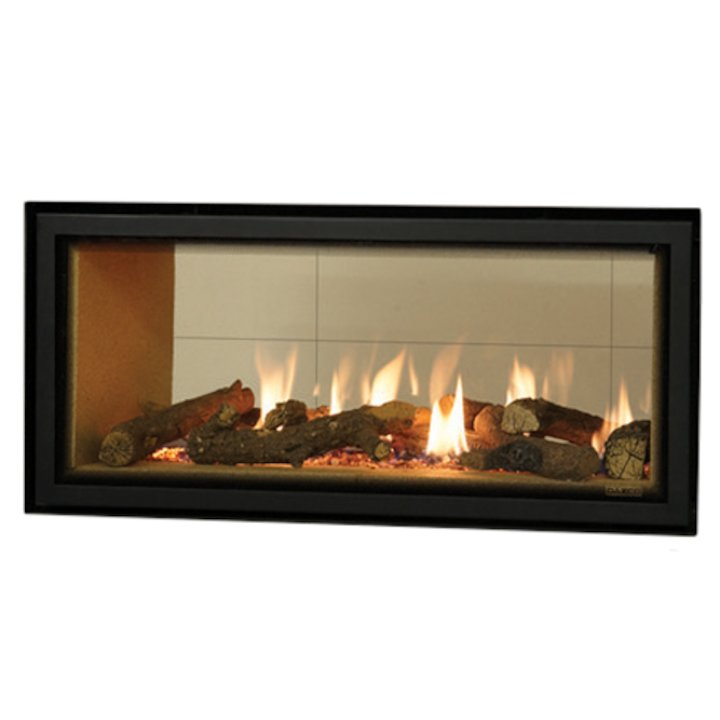 Gazco Studio 2 Duplex Balanced Flue Double Sided Gas Fire - Tunnel Black Beige Vermiculite Lining - Black