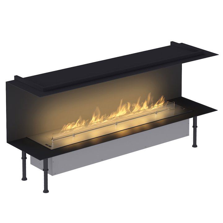 Planika Fireline FLA3/1190 Bio-Ethanol Cassette Fire - Three Sided Stainless Steel Standard - Stainless Steel