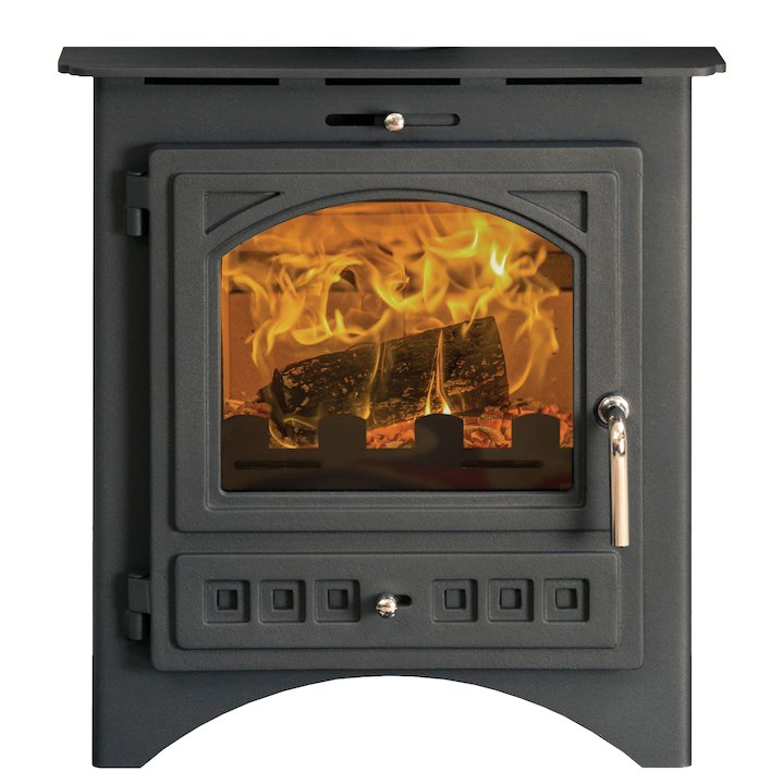 Pevex Bohemia X40 Multifuel Inset Stove Black Cast-Iron Door - Black