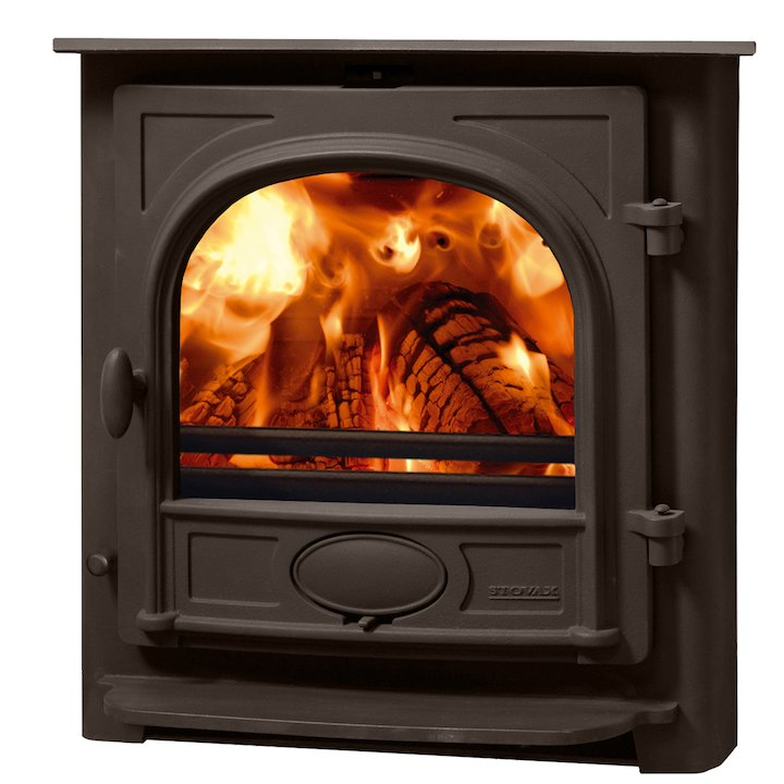 Stovax Stockton 7 Multifuel Inset Stove Metallic Brown Flat Top - Metallic Brown