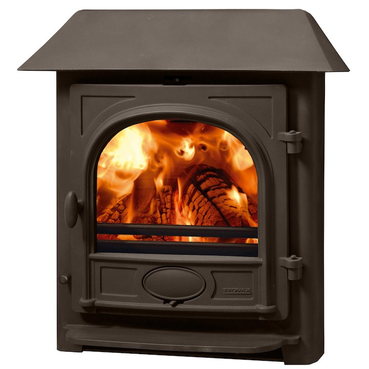 Stovax Stockton 7 Multifuel Inset Stove Metallic Brown Low Canopy Top - Metallic Brown
