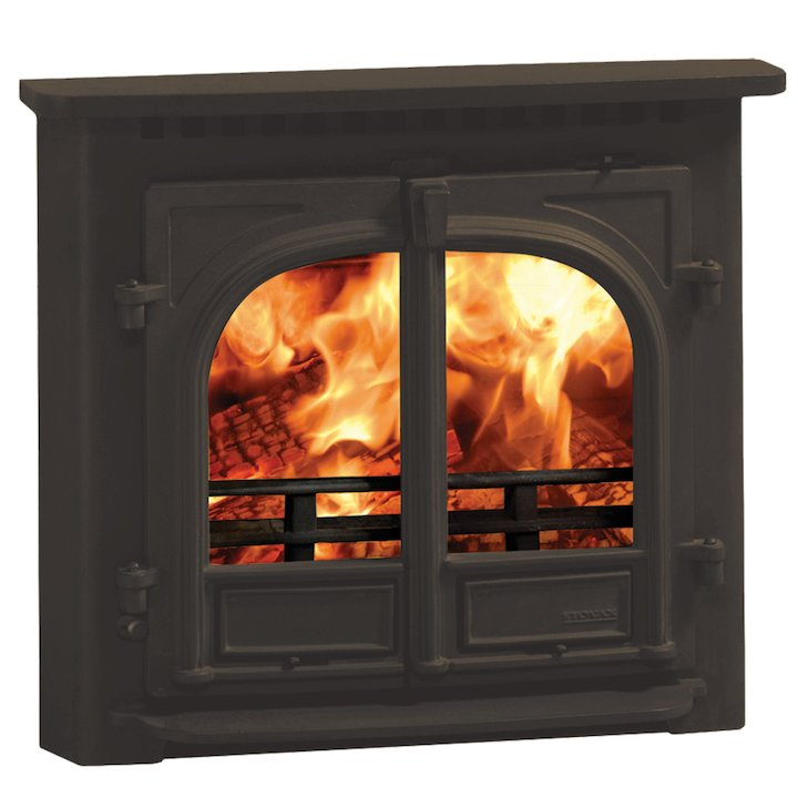 Stovax Stockton 8 Multifuel Inset Stove Metallic Brown Flat Top - Metallic Brown