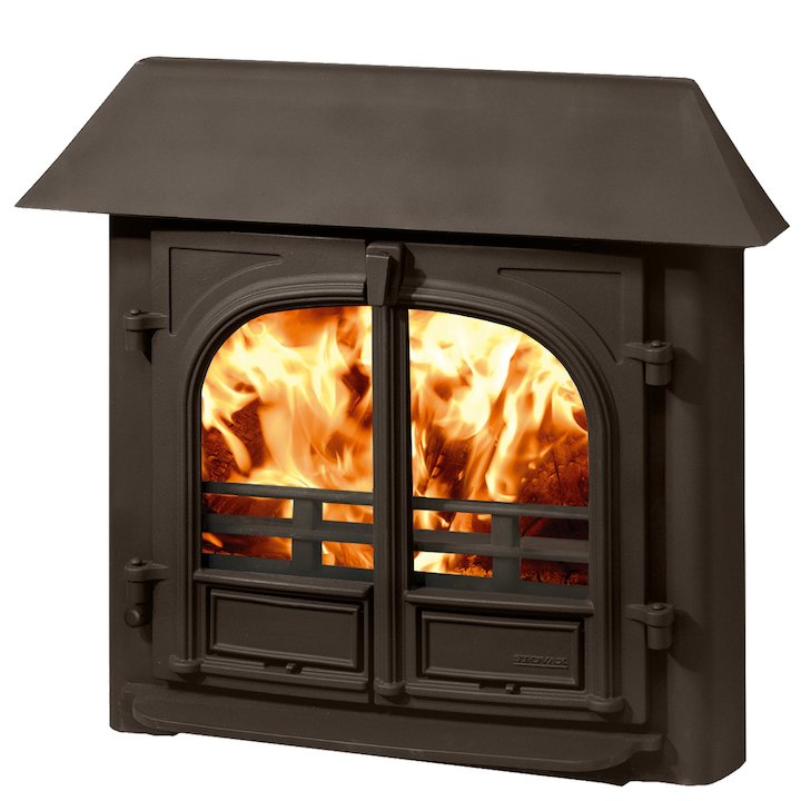 Stovax Stockton 8 Multifuel Inset Stove Metallic Brown Low Canopy Top - Metallic Brown