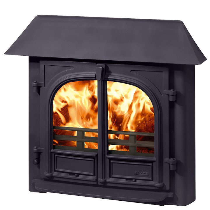 Stovax Stockton 8 Multifuel Inset Stove Metallic Blue Low Canopy Top - Metallic Blue