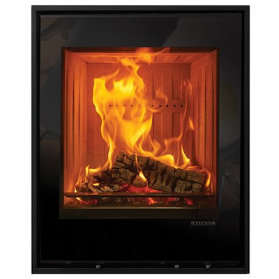 Stovax Elise 540 Tall Wood Cassette Fire Black Glass Four Sided Edge+ Frame