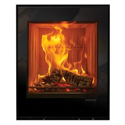 Stovax Elise 540 Tall Wood Cassette Fire Black Glass Frameless/Edge