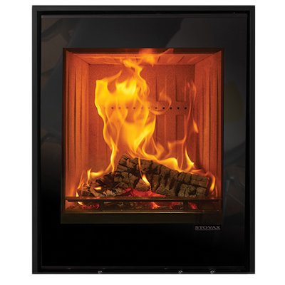 Stovax Elise 540 Tall Wood Cassette Fire Black Glass Three Sided Edge+ Frame