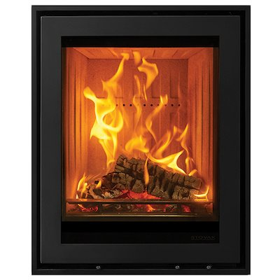 Stovax Elise 540 Tall Wood Cassette Fire Black Four Sided Edge+ Frame