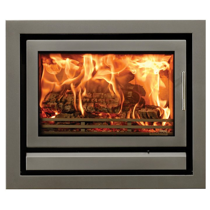 Riva 76 Wood Cassette Fire Storm Silver Metallic Four Sided Frame - Storm Silver Metallic