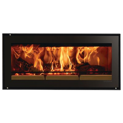 Riva Studio 2 Wood Cassette Fire Black Glass Frameless/Edge
