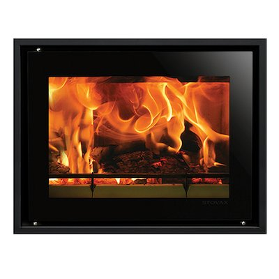 Riva Studio 500 Wood Cassette Fire Black Glass Four Sided Edge+ Frame
