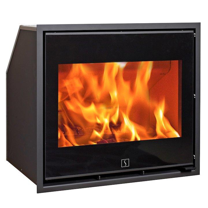 Scan 1001 Wood Cassette Fire Black Glass Black Trim - Black Glass