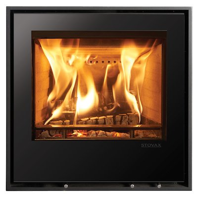 Stovax Elise 540 Wood Cassette Fire Black Glass Four Sided Edge+ Frame