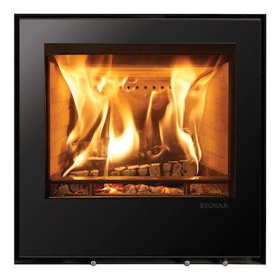 Stovax Elise 540 Wood Cassette Fire Black Glass Frameless/Edge