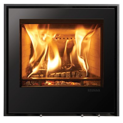 Stovax Elise 540 Wood Cassette Fire Black Glass Three Sided Edge+ Frame