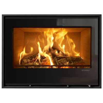 Stovax Elise 850 Wood Cassette Fire Black Glass Four Sided Edge+ Frame