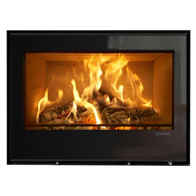 Stovax Elise 850 Wood Cassette Fire Black Glass Frameless/Edge