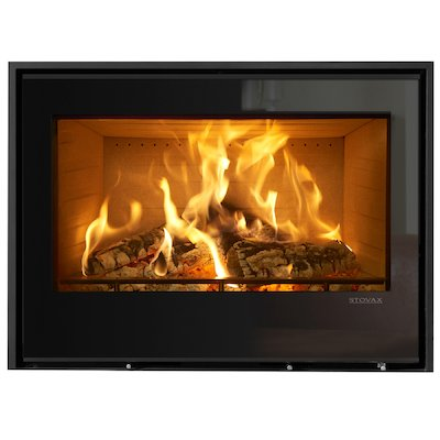 Stovax Elise 850 Wood Cassette Fire Black Glass Three Sided Edge+ Frame