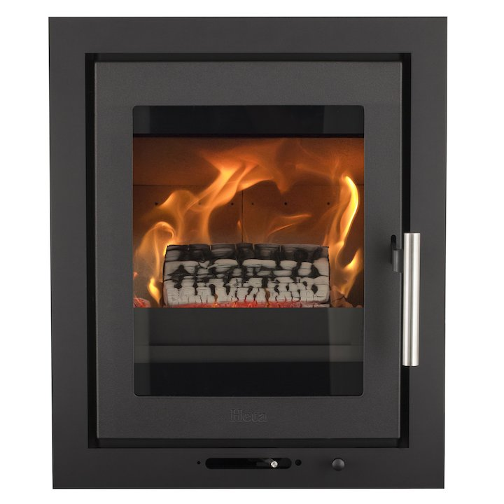 Heta Inspire 40i Multifuel Cassette Fire - Frontal Black Three Sided Frame - Black