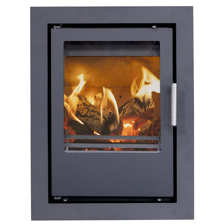 Mendip Christon 400 Multifuel Cassete Fire Black Four Sided Frame - Black