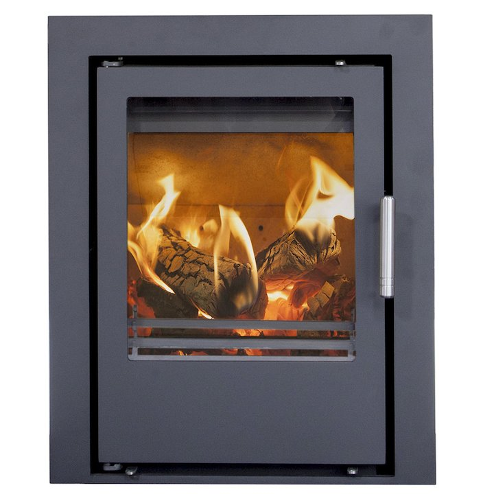 Mendip Christon 400 Multifuel Cassete Fire Black Three Sided Frame - Black