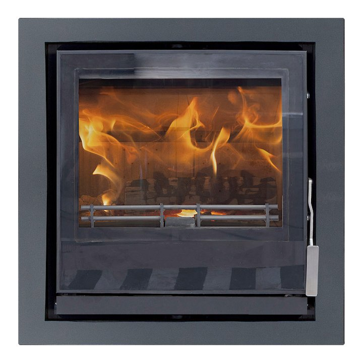 Mendip Christon 550 Multifuel Cassete Fire Black Four Sided Frame - Black