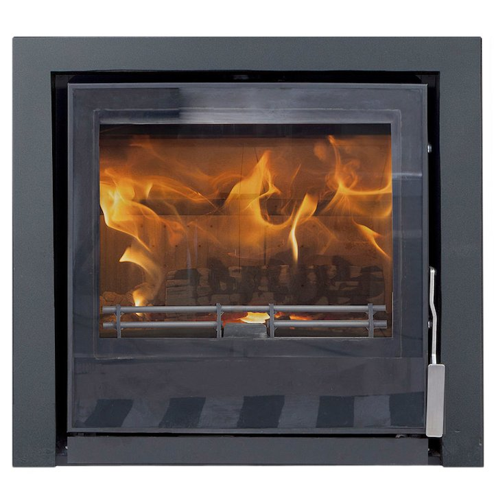 Mendip Christon 550 Multifuel Cassete Fire Black Three Sided Frame - Black