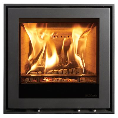 Stovax Elise 540 Multifuel Cassette Fire - Frontal Black Four Sided Edge+ Frame