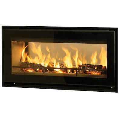 Riva Studio 2 Duplex Wood Cassette Fire - Tunnel Black Glass Four Sided Edge+ Frame
