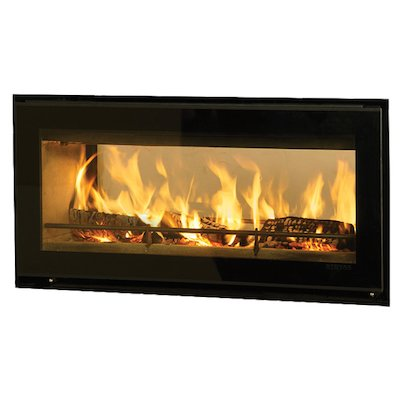 Riva Studio 2 Duplex Wood Cassette Fire - Tunnel Black Glass Frameless/Edge