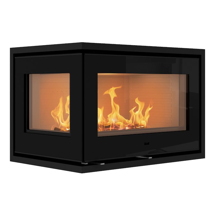 Rais 500/2 Wood Cassette Fire - Corner Black Glass Left Side Glass - Black Glass