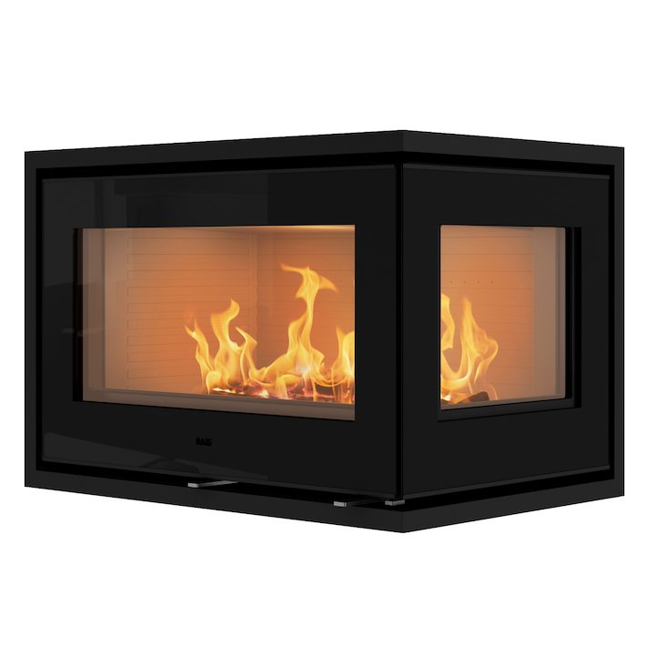 Rais 500/2 Wood Cassette Fire - Corner Black Glass Right Side Glass - Black Glass